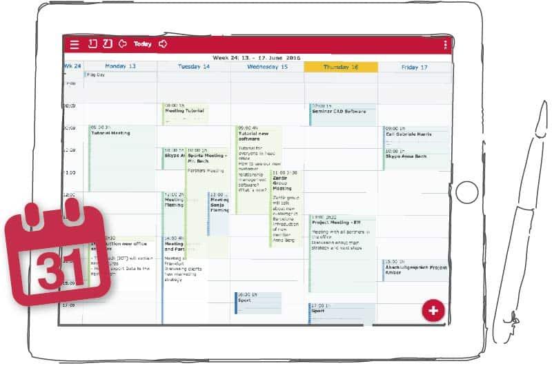Online Kalender bzw. Gruppenkalender für Unternehmen auf dem Tablet