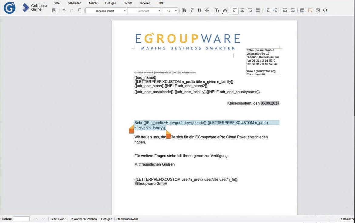 EGroupware 17.1 with Collabora – Merger of classic groupware and file server with online office