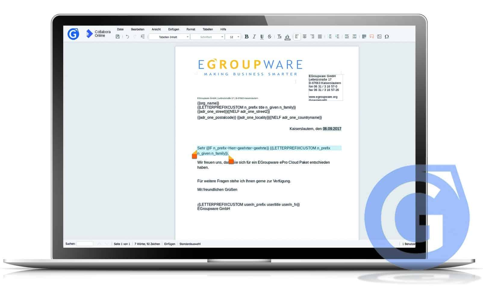 "Partnership EGroupware GmbH & Collabora Productivity and New Webinar ""Collabora Online"""